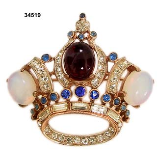 1944 CoroCraft Vermeil Crown Brooch
