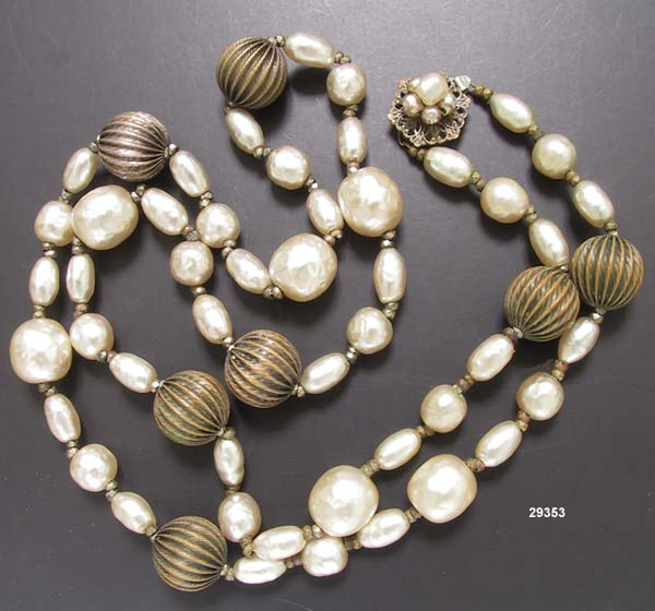Miriam Haskell Pearl and Brass Necklace Vintage 1940 to 1950s