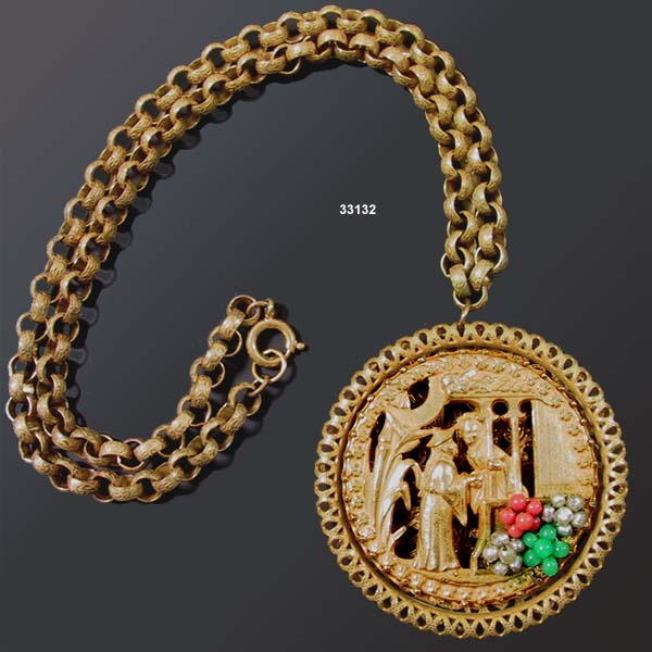 c. 1950 MIRIAM HASKELL Oriental Theme Necklace