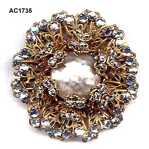 c. 1950s Miriam Haskell Russian Gold-Plated Filigree Brooch