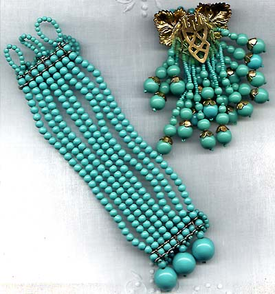 Unsigned Miriam Haskell Turquoise Bead Dress Clip and Bracelet Back