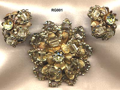 c. 1940s Miriam Haskell Brooch and Earrings