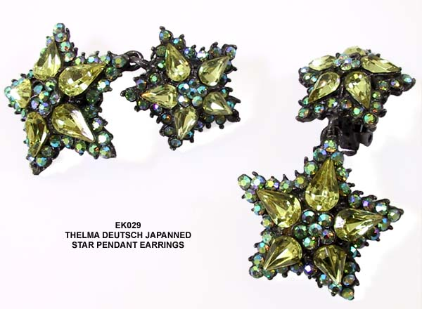 1980's Thelma Deutsch Japanned Star Pendant Earrings