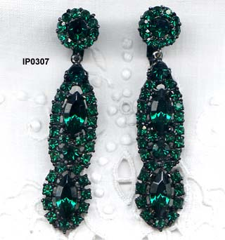 c. 1980 Thelma Deutsch Emerald Green Pendant Earrings