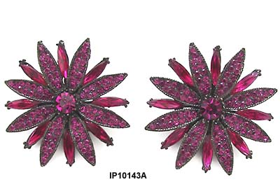1980's Thelma Deutsch Magenta Flower Earrings