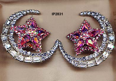 c. 1980 Thelma Deutsch Thelma Deutsch Moon and Star Earrings