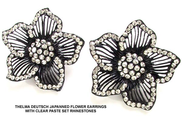 1980's Thelma Deutsch Japanned Clipback Earrings