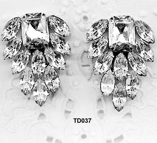 Thelma Deutsch Clear Rhinestone Clipback Earrings