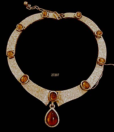 c. 1950's TRIFARI Choker/Necklace with Topaz Cabochons