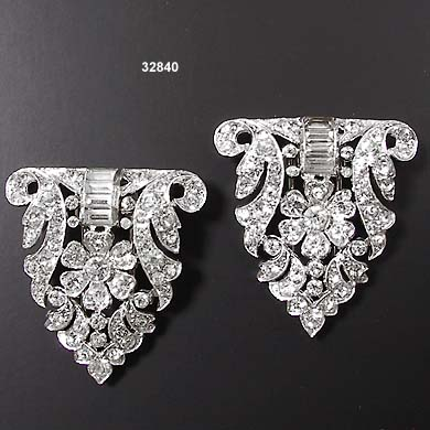Vintage Crown TRIFARI Rhodium Plated Pin Clips