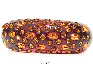 c. 1950's WEISS Wine Colored Clamper Bracelet with Topaz Stones