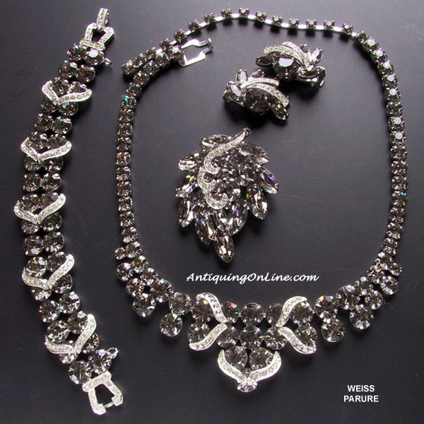 WEISS Black Diamond Parure at AntiquingOnLine.com :  costume jewelry jewelry parure fashion set