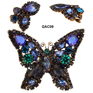 c. 1950's WEISS Butterfly Pin and Earrings