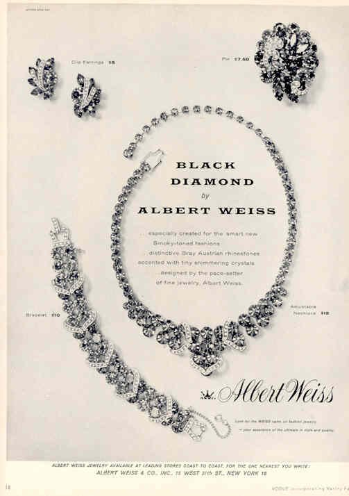 1950 WEISS Black Diamond Parure Ad