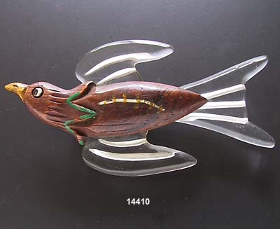 c. 1930 Wood and Lucite Bird Pin