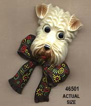Wheaton Terrier Dog Face Pin with Moveable Eyes