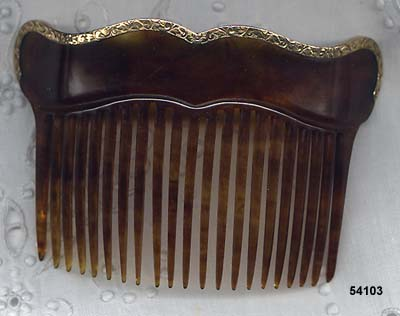 1900 to 1910 Celluloid Hair Comb Trimmed in 10 Karat Gold