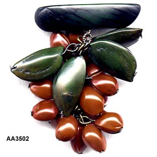 c. 1940's Wood Cocoa Bean Pin