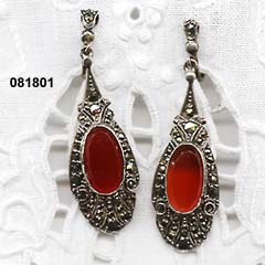 c. 1920 Sterling, Marcasite and Carnelian Earrings