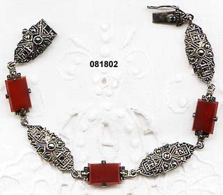 Art Deco Sterling Link Bracelet with Marcasites and Carnelians