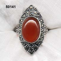 c. 1920 Sterling, Marcasite and Carnelian Ring