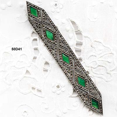 Art Deco Chrysophase and Marcasite Sterling Pin