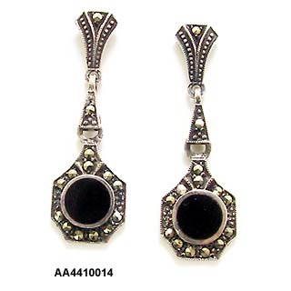 c. 1930's Art Deco sterling, onyx and marcasite pendant pierced (post) earrings