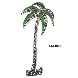 Floridian or Tropical Deco Sterling Palm Tree Pin