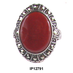 Art Deco Uncas Sterling Marcasite Carnelian Ring