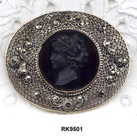 CZECHOSLOVAKIA Molded Black Glass Cameo Marcasite Studded Brooch
