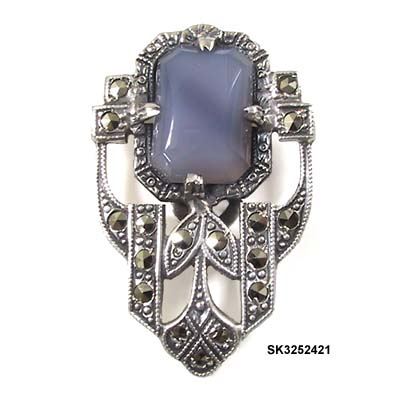c. 1920's Sterling Dress Clip with Lavender Glass Stone