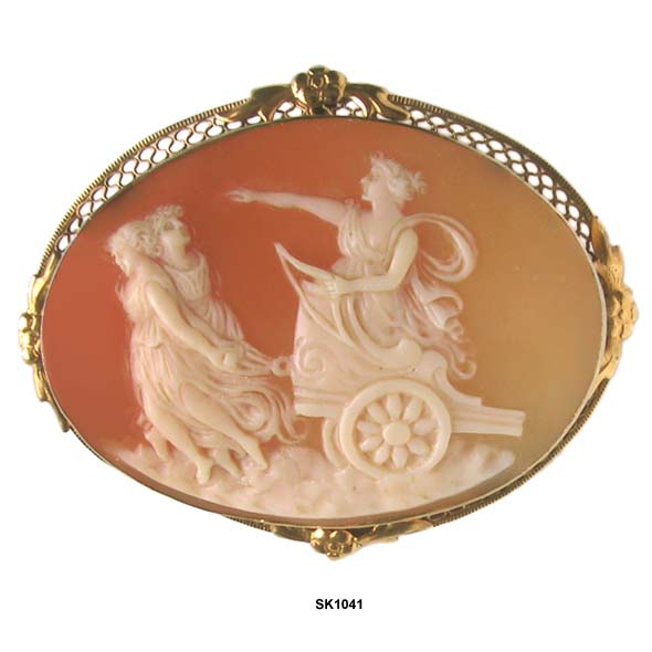 c. 1890 Shell Cameo of Diana Off to the Hunt