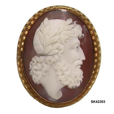 c. 1860 Victorian Shell Cameo of Zeus, King of the Gods