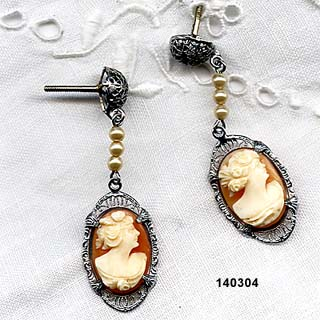 Art Deco 10K White Gold Cameo Pendant Earrings