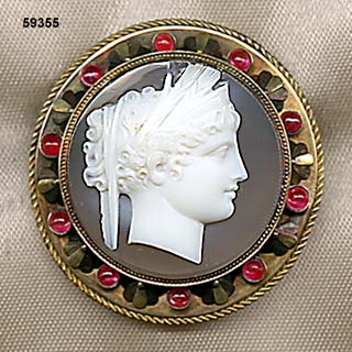 c. 1890 Greek Revival Hardstone Cameo of Ceres