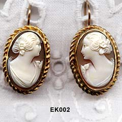 1940 to 1950's Shell Cameo Earrings