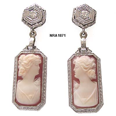 Edwardian 14 Karat White Gold Filigree Carnelian Shell Cameo Pendant Earrings