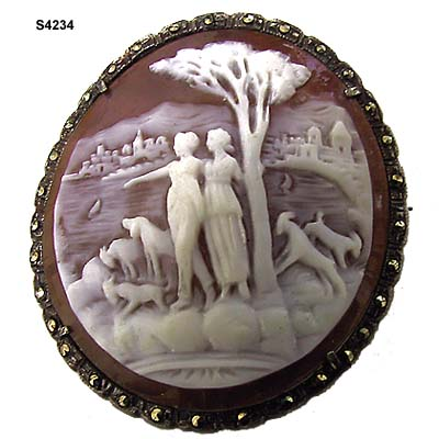 Two Women by the Shore Sardonyx Shell Cameo