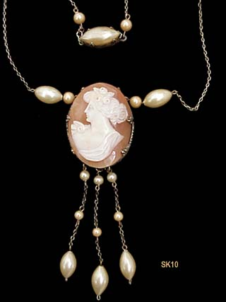c. 1930 Sardonyx Shell Cameo Necklace