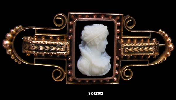 c. 1880 Victorian Hardstone Cameo Pin/Watch Pin