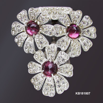 Art Deco Dress Clip with Purple Stones c 1930s