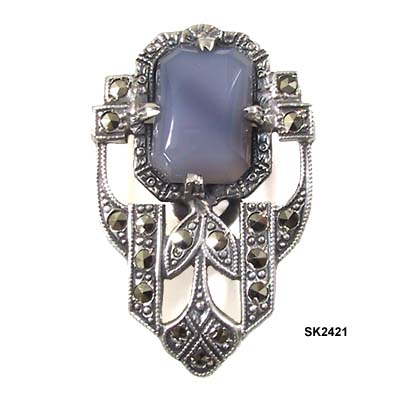 Art Deco Sterling Dress Clip with Lavender Stone c 1920s