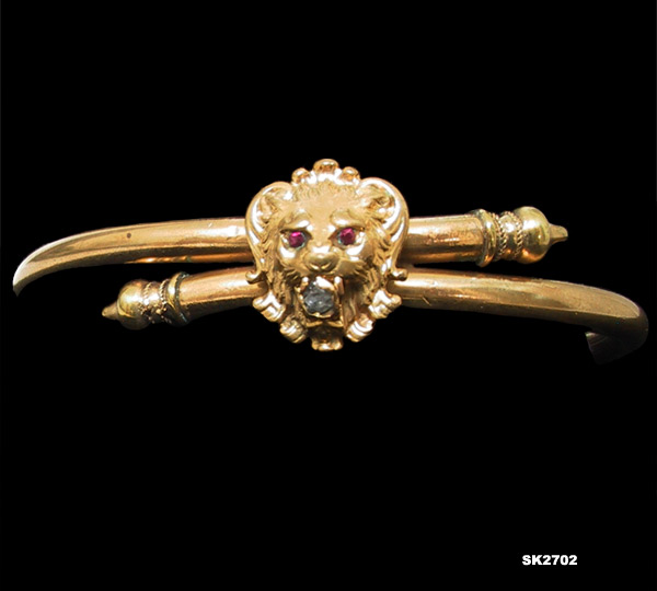 Antique Victorian Lion Head Bangle Bracelet