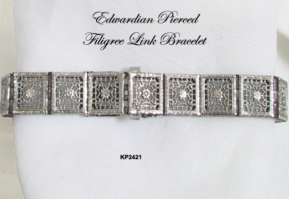 Pierced Filigree Sterling Link Bracelet Edwardian Era