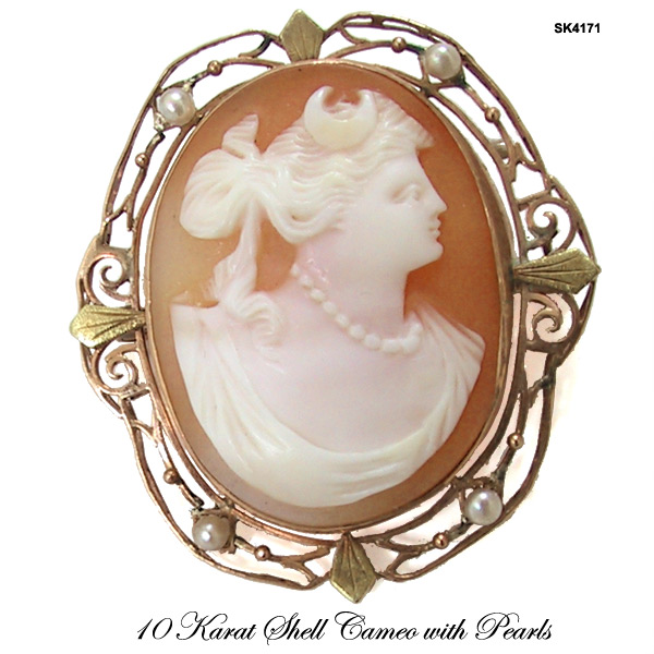 Antique Edwardian Diana Shell Cameo Brooch