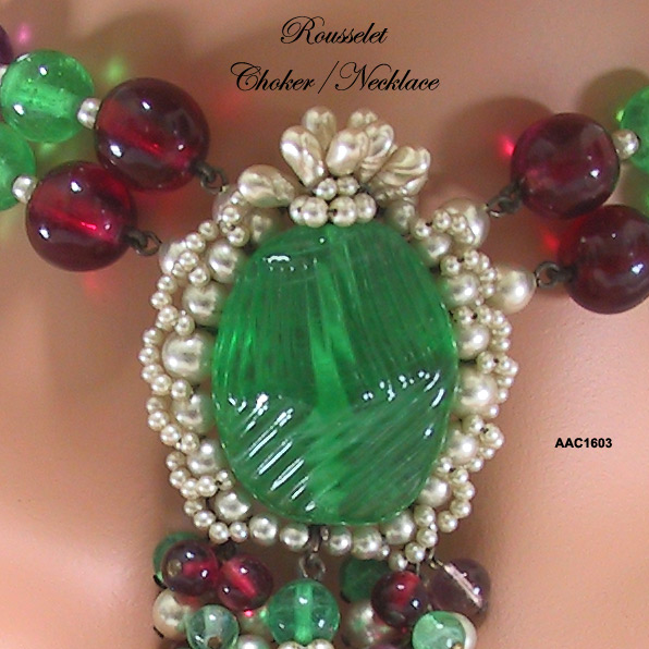 Rousselet Faux Amethyst, Ruby, Emerald and Pearl Choker/Necklace