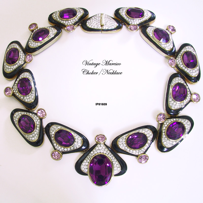 Vintage Maresco Black Enamel, Amethyst and Pave Gold-Plated Necklace/Choker