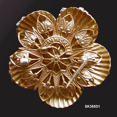 1948 to 1950 Miriam Haskell Roses Montee Russian Gold-Plated Brooch