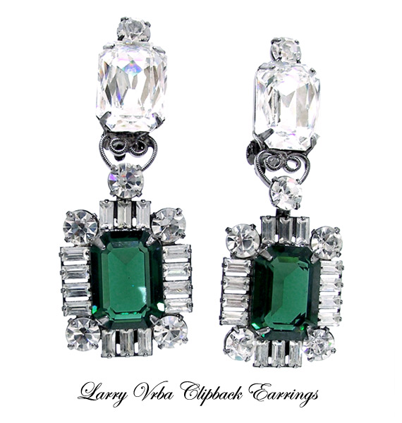 Lawrence (Larry) Vrba Faux Emerald & Diamond Earrings