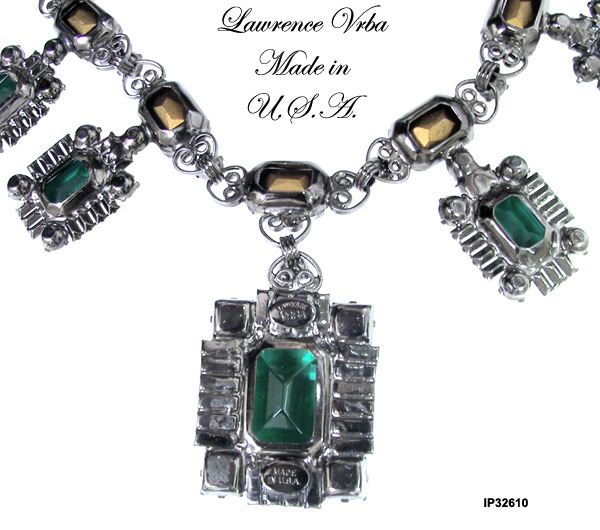 Lawrence (Larry) Vrba Faux Emerald & Diamond Necklace